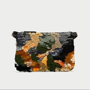 ZARA Sequined belt bag clutch
